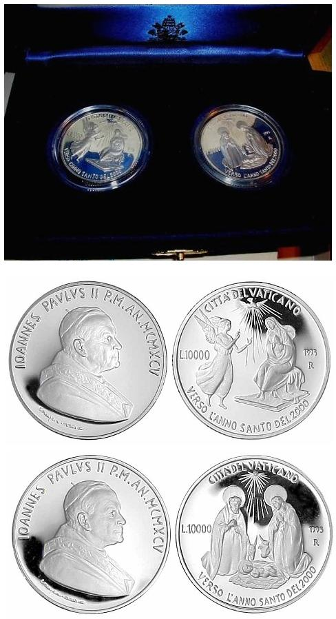 1995 Vatican Ag Coins ANNUNCIATION & NATIVITY Photo