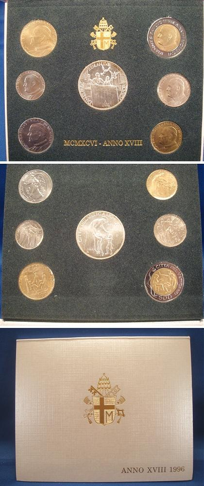 1996 Vatican Coin Set, 7 Coins B/U Photo