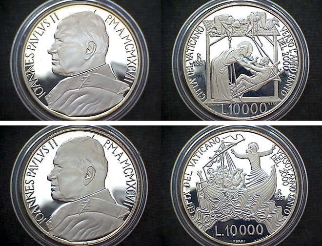 1997 Vatican 10000 Lire Coins Life of Christ Photo