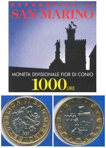1997 San Marino 1000 Lire Bimetal Coin Lion MINT Photo