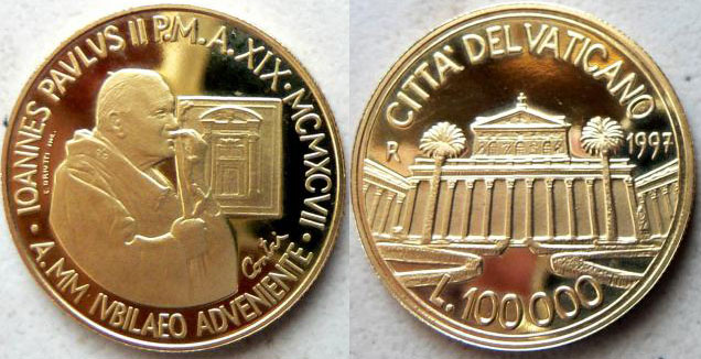 1997 Vatican 100,000 Lire Gold Basilica St. Paul Photo