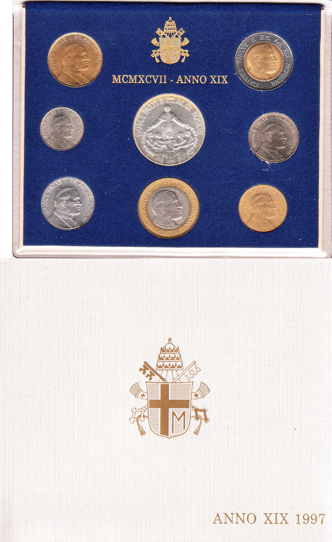1997 Vatican Coin Set, 8 Coins B/U Photo