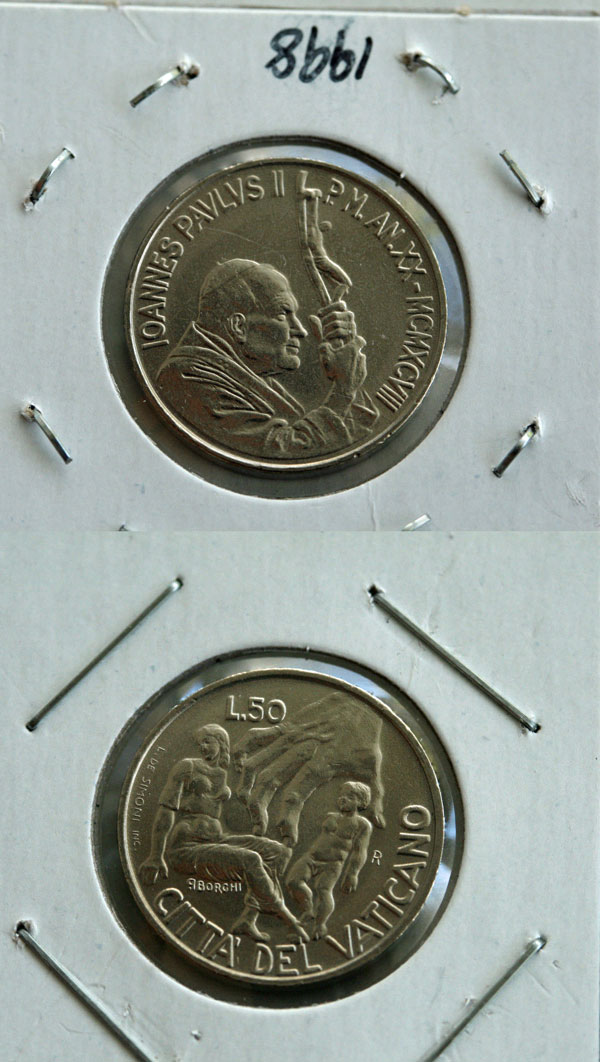 1998 Vatican 50 Lire: Violence Against Women Photo