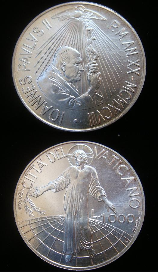 1998 Vatican 1000 Lire Silver Coin B/U Photo