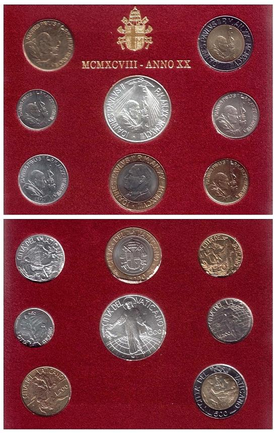 1998 Vatican Coin Set, 8 Coins B/U Photo