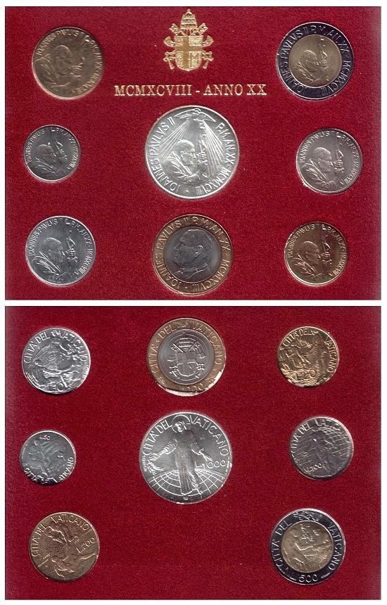 1998 Vatican Coin Set, 8 Coins B/U Photo