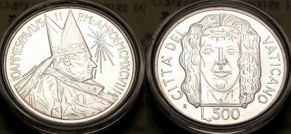 1998 Vatican 500 Lire Shroud of Turin Coin Photo