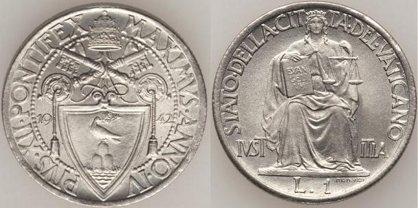 1942 Vatican City 1 Lira Photo