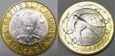 2000 San Marino 1000 Lire Bimetal Coin Photo