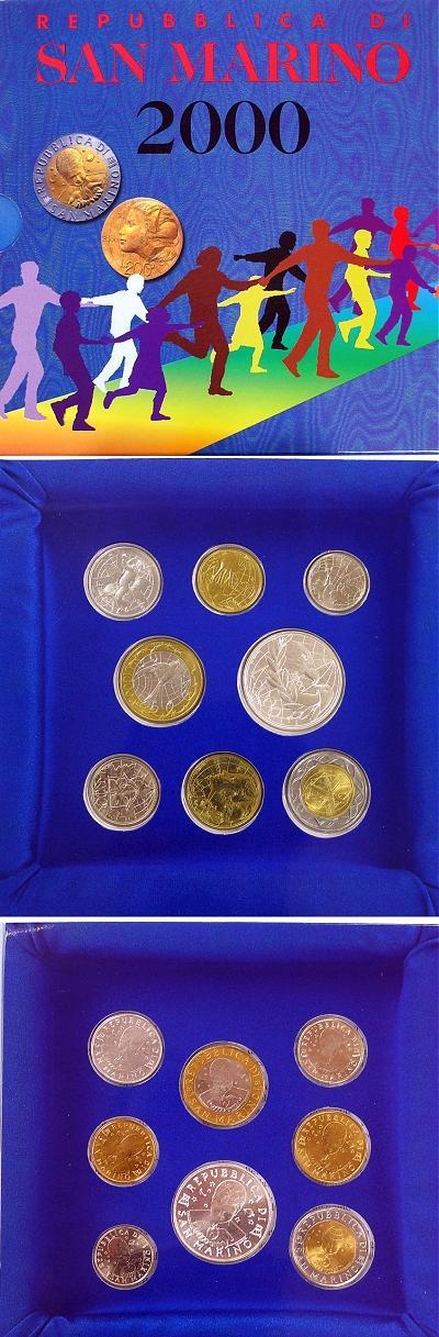 2000 San Marino Mint Set, 8 Coins BU Photo