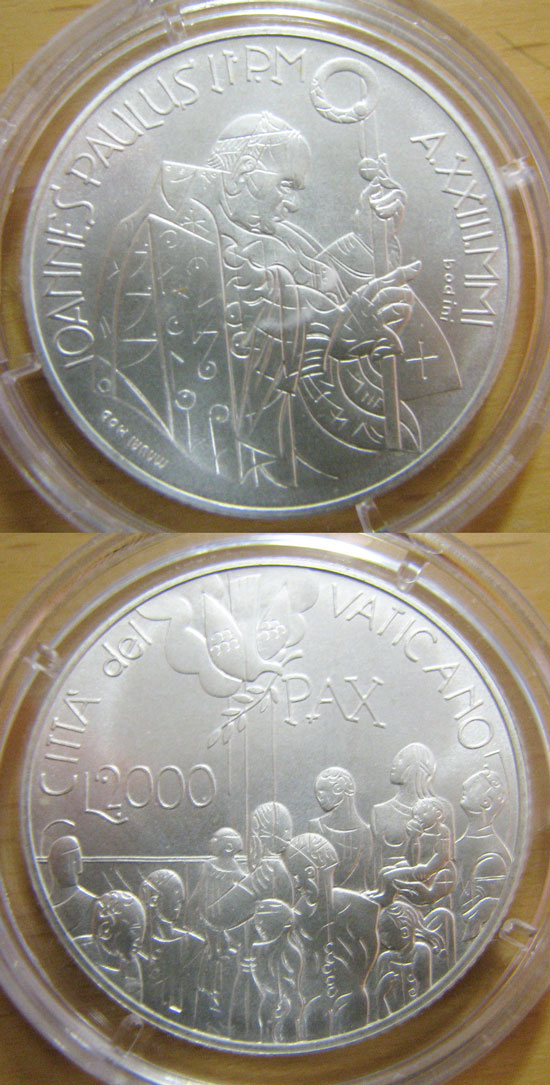 2001 Vatican 2000 Lire Silver BU Coin Photo