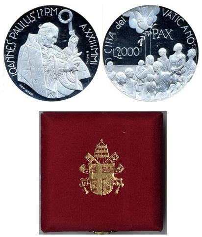 2001 Vatican 2000 Lire Silver Proof Coin Photo