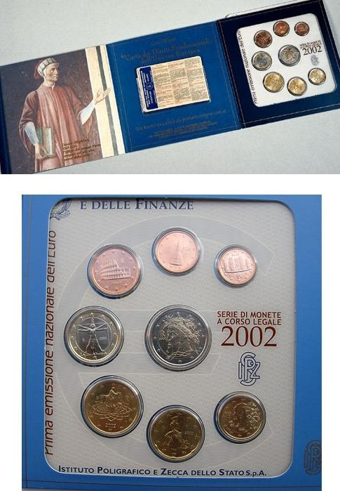 2002 Italy Mint Set, 8 Euro Coins BU DANTE Photo