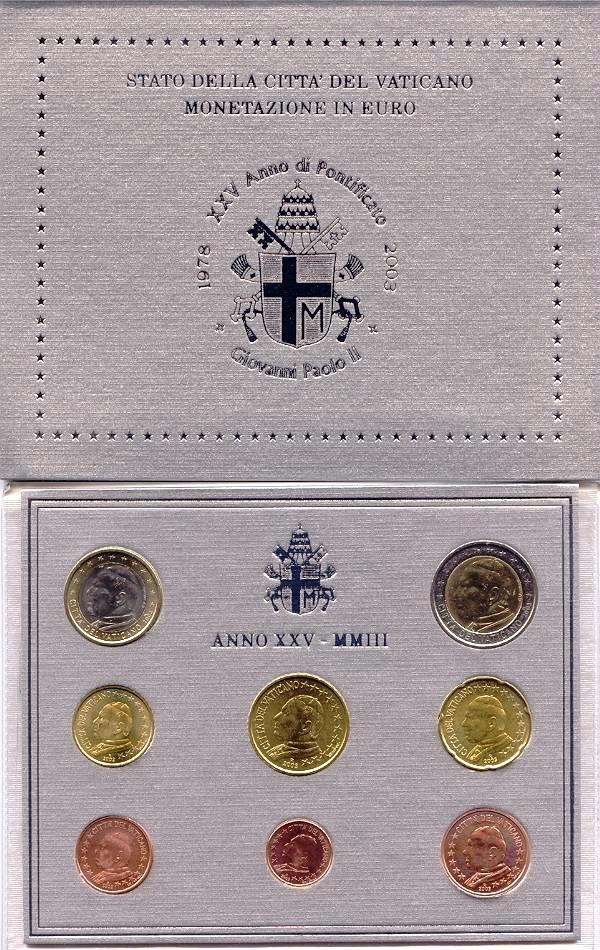 2003 Vatican Coin Set, 8 Euro Coins BU Photo