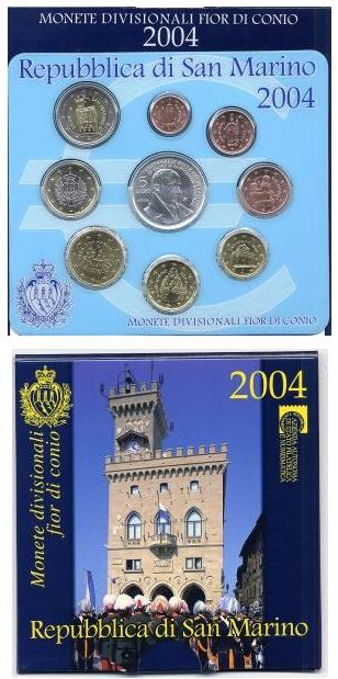 2004 San Marino Mint Set, 9 Euro Coins BORGHESI Photo