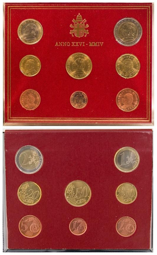 2004 Vatican Coin Set, 8 Euro Coins BU Photo