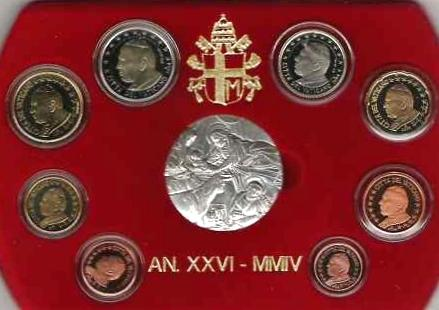 2004 Vatican Proof Set, 8 Euro Coins + Ar Medal Photo