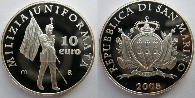 2005 San Marino 10 Euro Coin MILITIA Photo