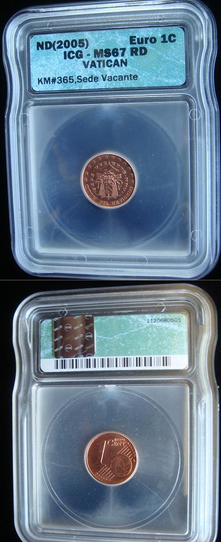 2005 Sede Vacante 1 Cent Euro ICG MS67 Photo