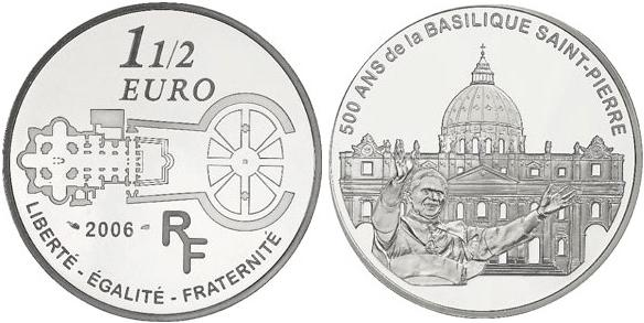 2006 France 1.5 Euro Silver St. Peter's Basilica Photo