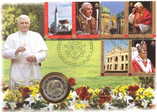 2007 Vatican 2 Euro Bimetal 80th Birthday Photo