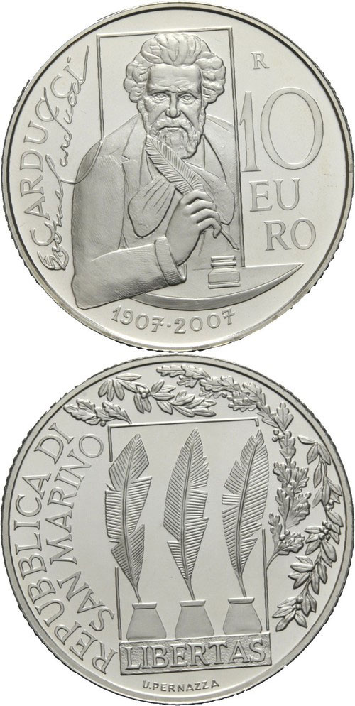 2007 San Marino 10 Euro Giosue Carducci Photo