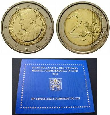 2007 Vatican 2 Euro Benedict XVI Coin Photo