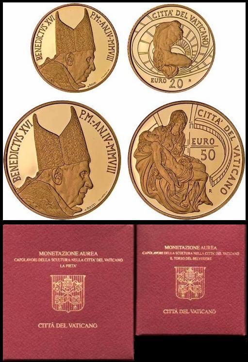 2008 Vatican 20 & 50 Euro Gold Coins Photo