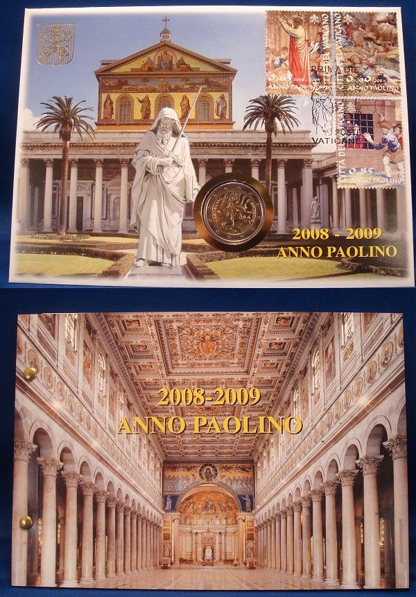 2008 Vatican 2 Euro Coin-Stamps CONVERSION OF PAUL Photo