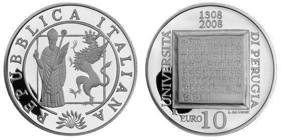 2008 Italy Perugia Univ., St. Herculanus Coin Photo