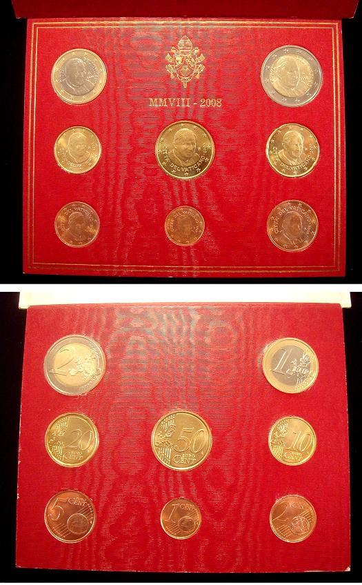2008 Vatican Coin Set, 8 Euro Coins BU Photo