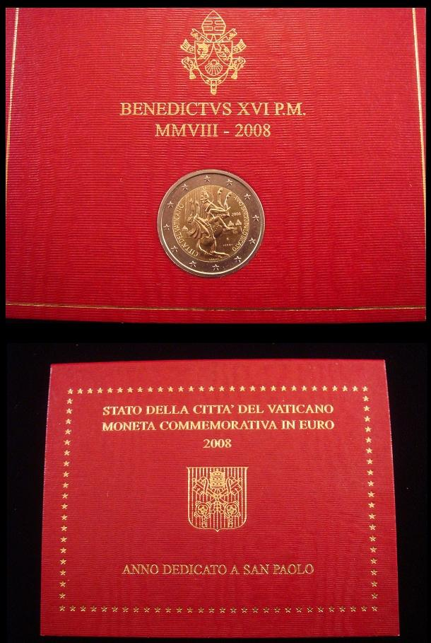 2008 Vatican 2 Euro Coin CONVERSION OF PAUL  Photo