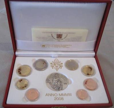 2008 Vatican Mint Set, 8 Euro Coins PROOF Photo