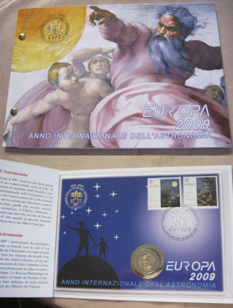 2009 Vatican 2 Euro Coin-Stamps Astronomy Photo