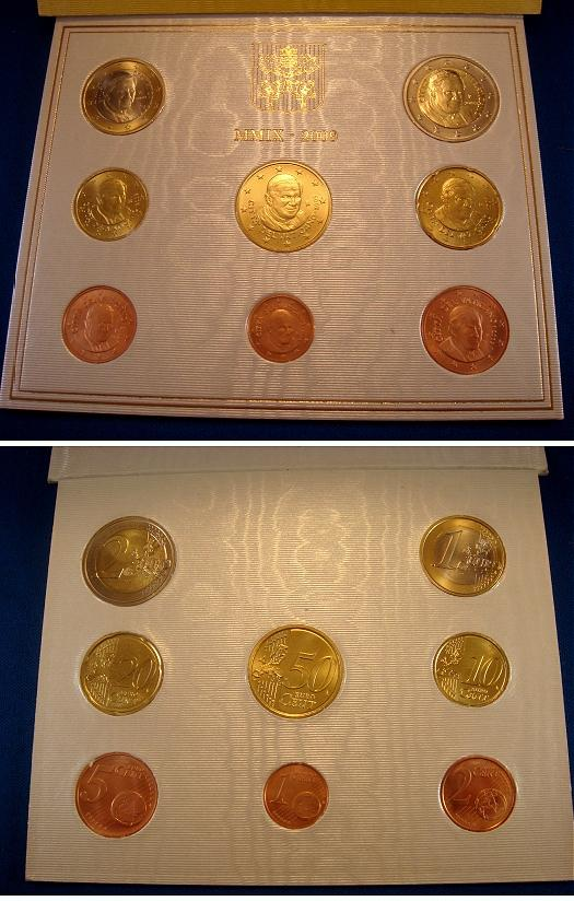 2009 Vatican Coin Set, 8 Euro Coins BU Photo