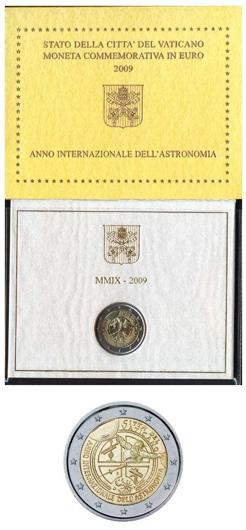 2009 Vatican 2 Euro ASTRONOMY Coin Photo