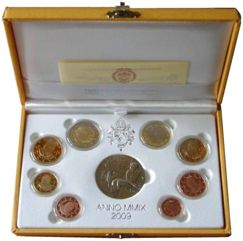 2009 Vatican Mint Set, 8 Euro Coins PROOF Photo