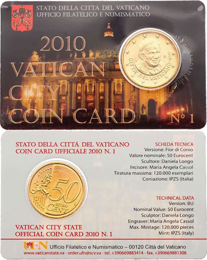 2010 Vatican Coin Card, 50 Eurocent Photo