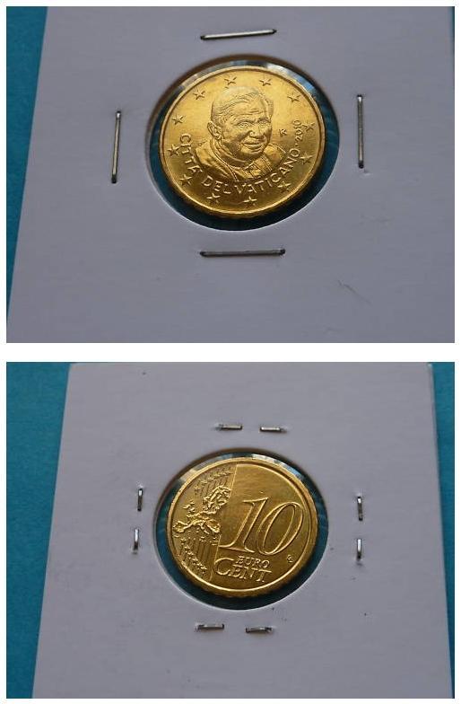 2010 Vatican 10 Cent Euro Coin B/U Photo