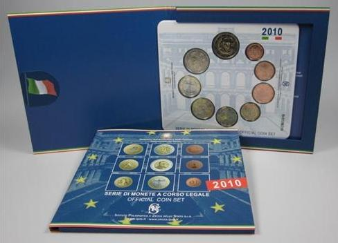 2010 Italy Mint Coin Set, 9 Euro Coins BU Photo