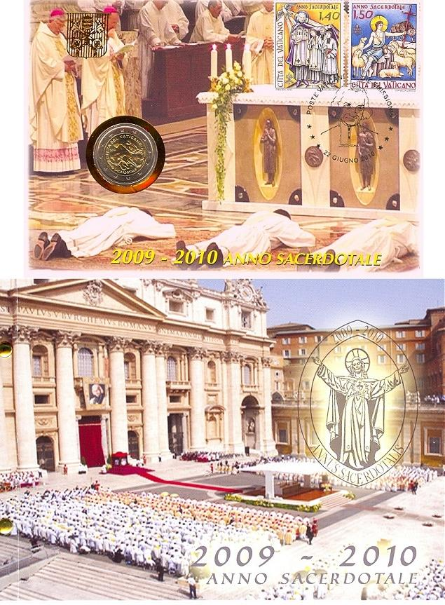 2010 Vatican 2 Euro Coin-Stamps Priests' Year Photo