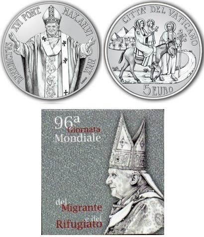 2010 Vatican 5 Euro Coin Migrants and Refugees Photo