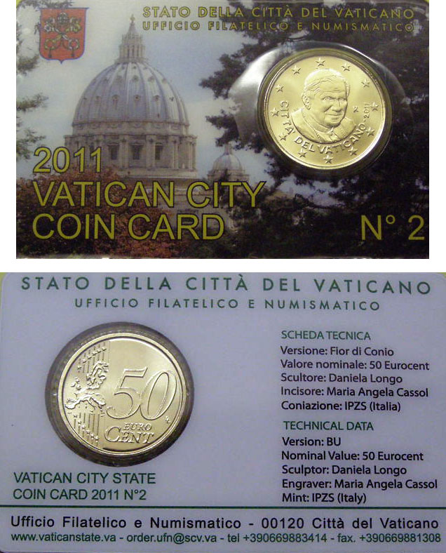 2011 Vatican Coin Card, 50 Eurocent Photo