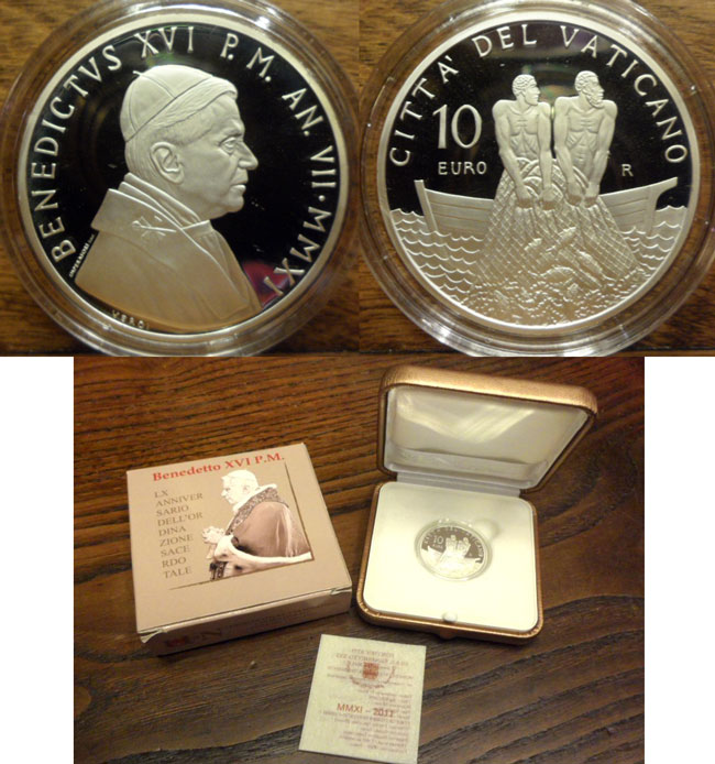 2011 Vatican 10 Euro Anniversary of Priesthood Photo