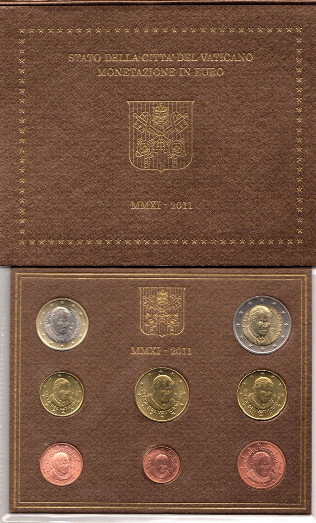 2011 Vatican Mint Set, 8 Euro Coins BU Photo