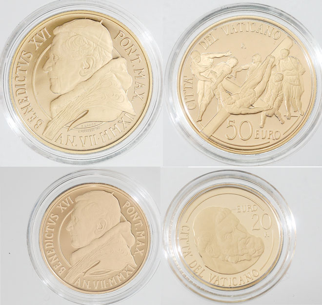2011 Vatican Gold Coins, Crucifixion of St. Peter Photo