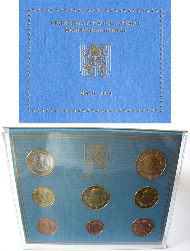 2012 Vatican Mint Set, 8 Euro Coins BU Photo