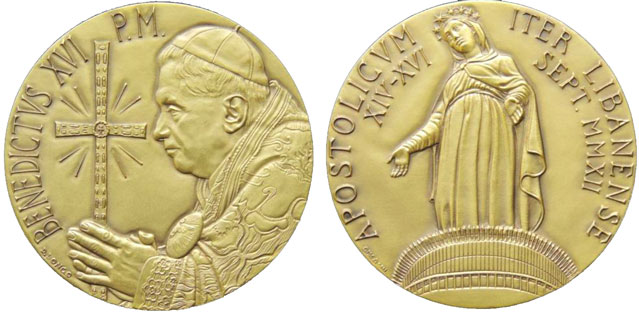Benedict XVI 2012 Lebanon Pilgrimage Medal Photo