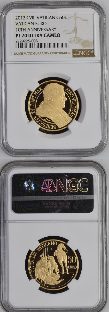 2012 Vatican 50 Euro Gold NGC PF70 Photo