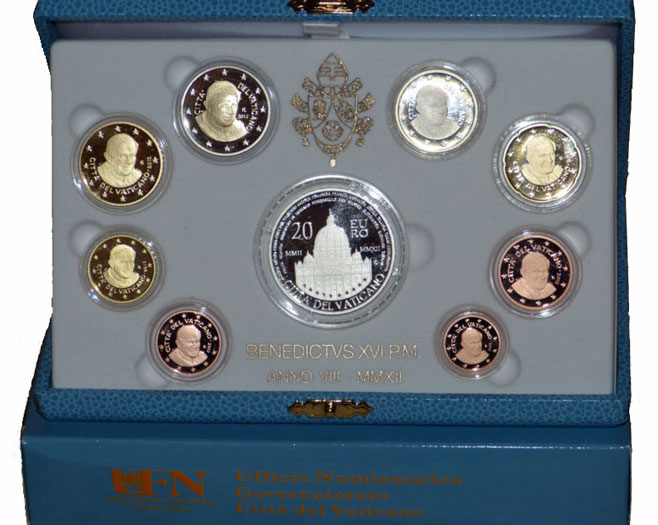2012 Vatican Proof Set, 9 Euro Coins Photo